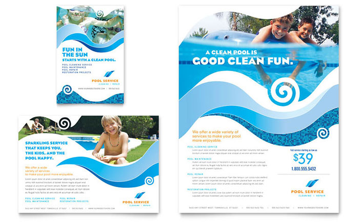 Swimming pool cleaning service flyer ad template word for Ad designs