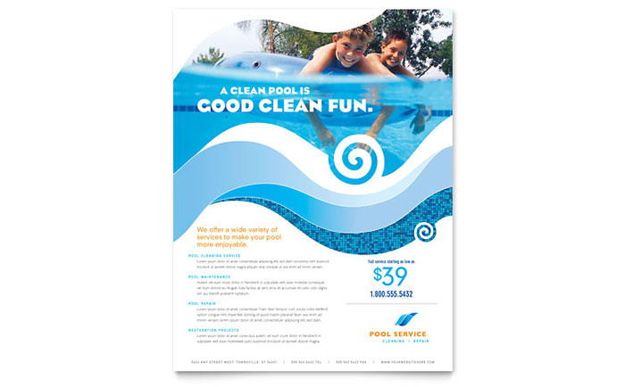 Swimming pool cleaning service flyer template word for Pool design templates