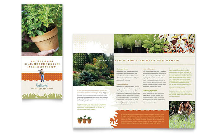 Landscape garden store brochure template word publisher for Landscaping flyers templates