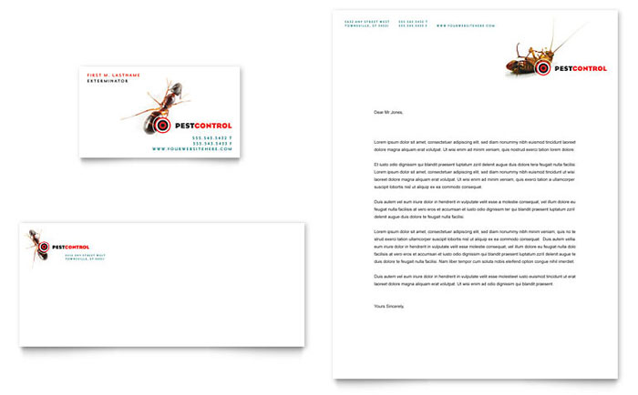 Pest Control Services Business Card Letterhead Template