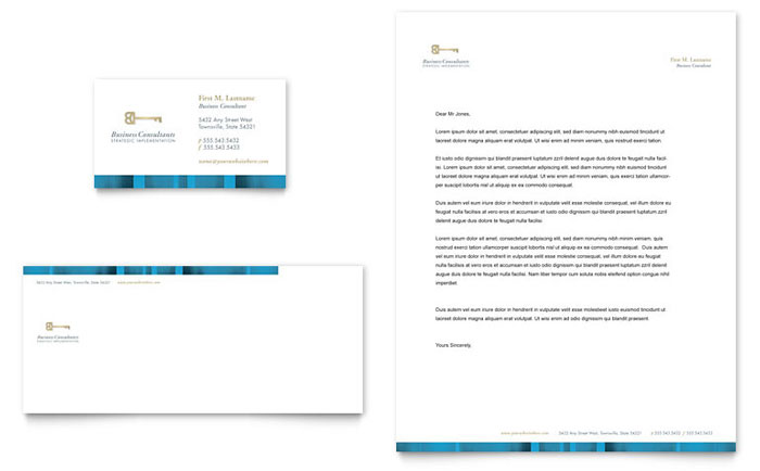 Small Business Consulting Business Card & Letterhead Template Download - Word & Publisher - Microsoft Office