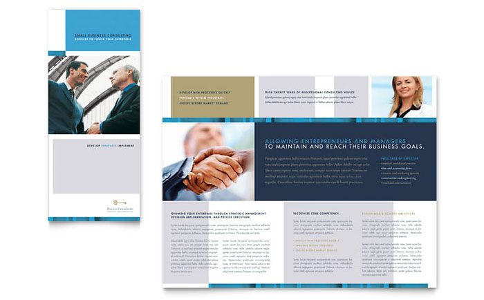 Small Business Consulting Tri Fold Brochure Template  Word  Publisher
