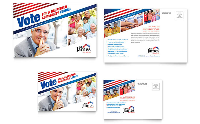 Political Campaign Postcard Template  Word  Publisher