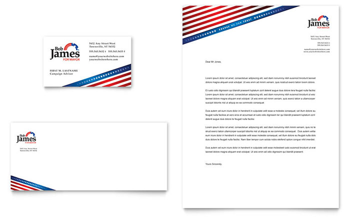 Political Campaign Business Card U0026 Letterhead Template   Word U0026 Publisher  Free Business Stationery Templates For Word