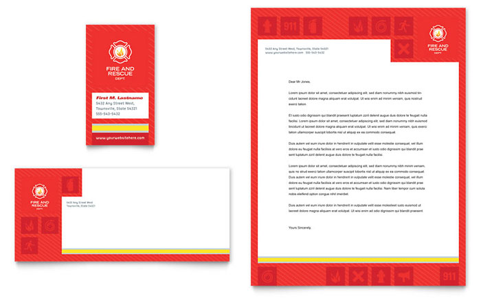 Fire Safety Business Card & Letterhead Template - Word & Publisher