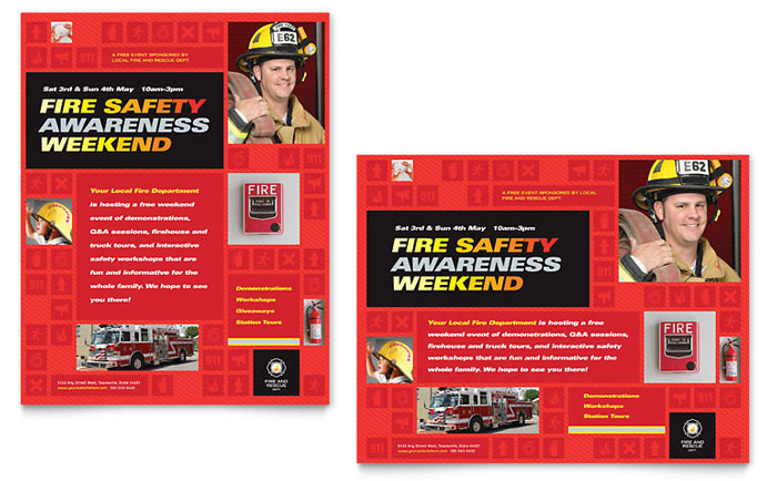 fire safety poster template word publisher