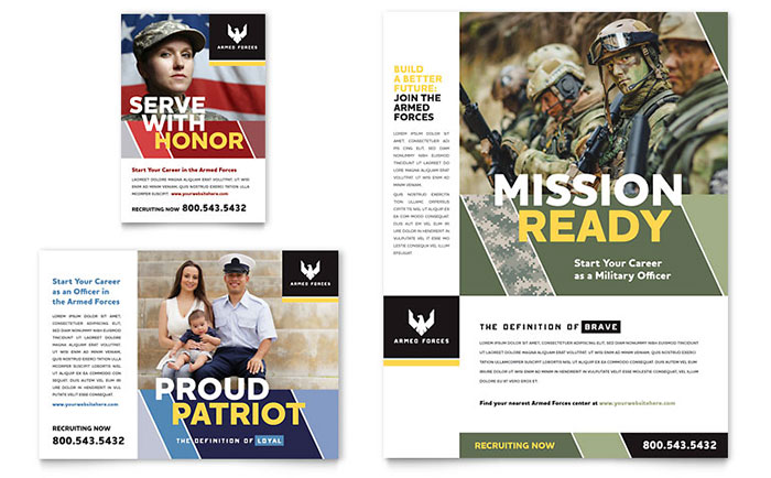Military Flyer & Ad Template - Word & Publisher