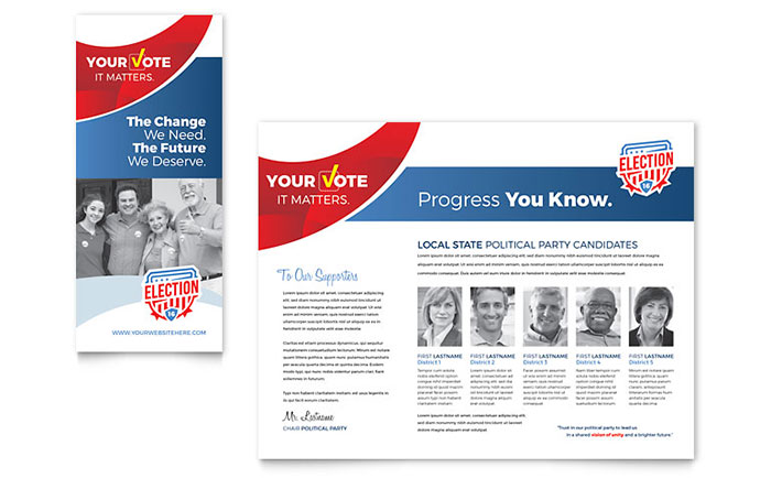 Election brochure template word publisher for Campaign literature templates