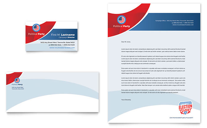 Election Business Card & Letterhead Template - Word & Publisher