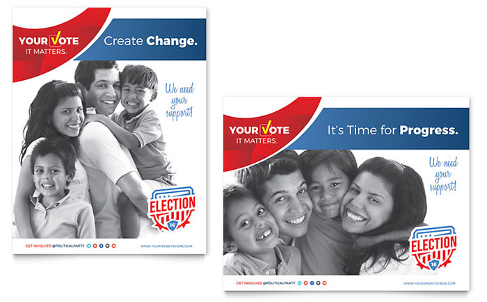 Election poster template word publisher for Voting flyer templates free