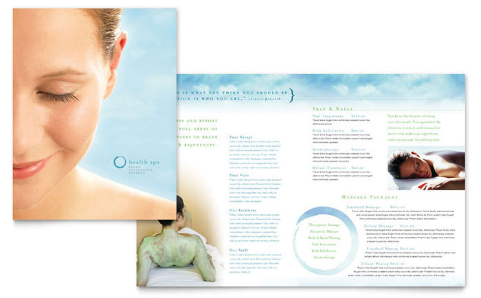 Day Spa Resort Brochure Template Word Publisher - Spa brochure templates