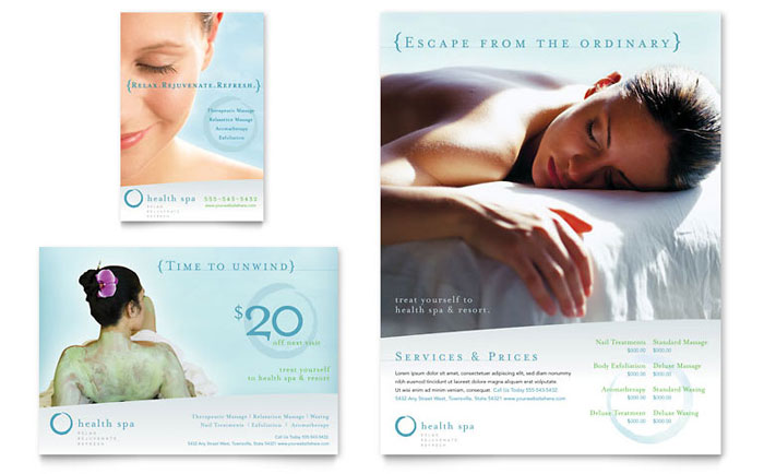 Day spa resort flyer ad template word publisher for Massage brochure template