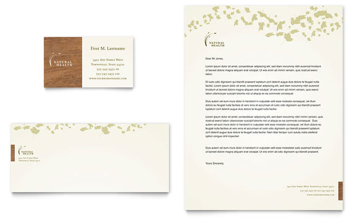 Naturopathic Medicine Business Card & Letterhead Template - Word & Publisher