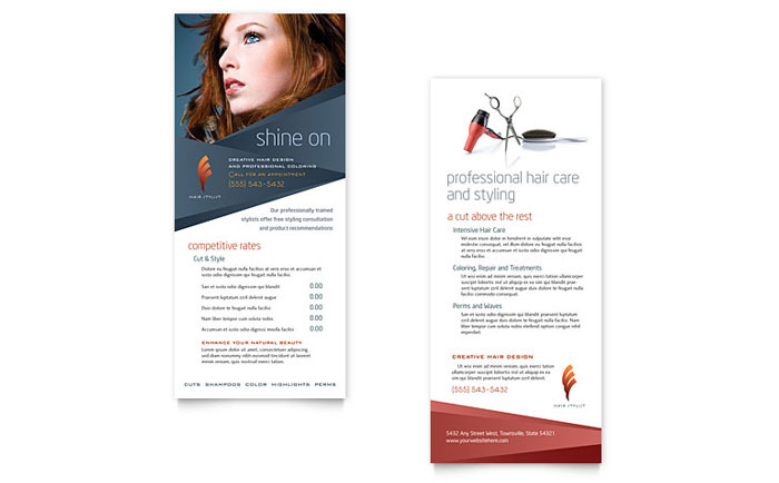 Hair Stylist Salon Rack Card Template Word Publisher - Hair salon brochure templates