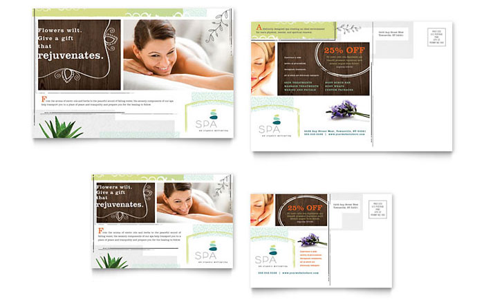 Day Spa Postcard Template - Word & Publisher