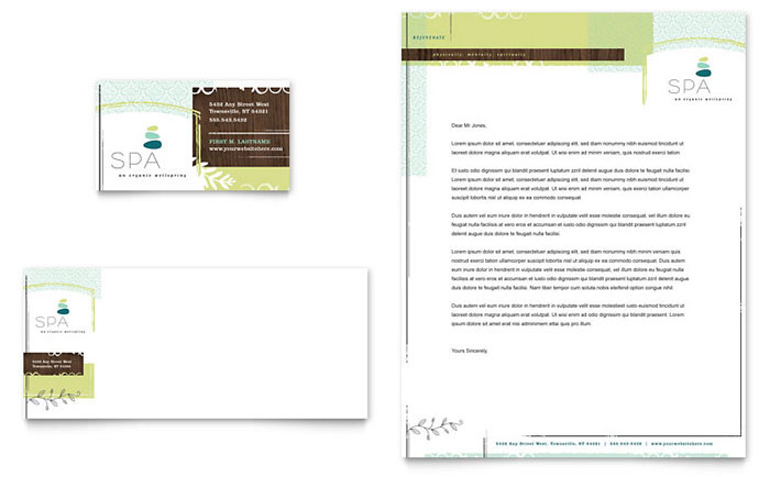 Day Spa Business Card & Letterhead Template - Word & Publisher