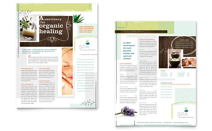 Day Spa Datasheet Template - Word & Publisher