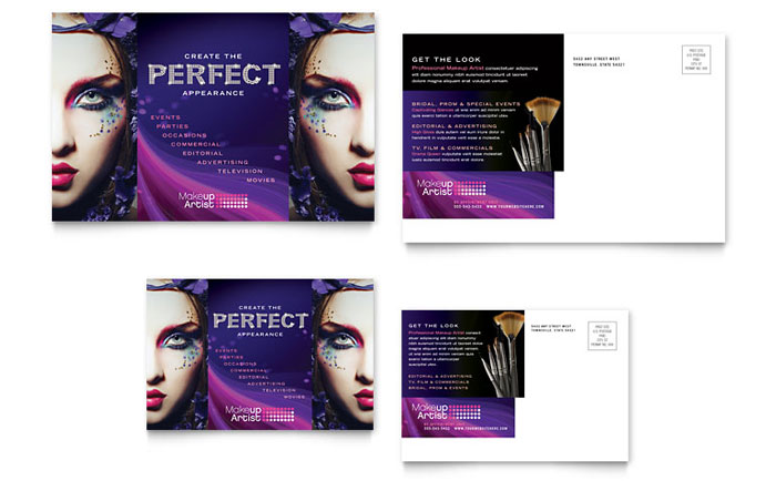 makeup artist postcard template word amp publisher