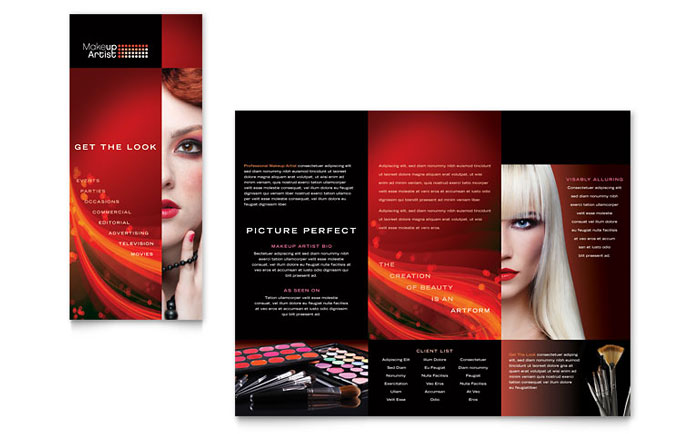 Makeup Artist Tri Fold Brochure Template - Word & Publisher