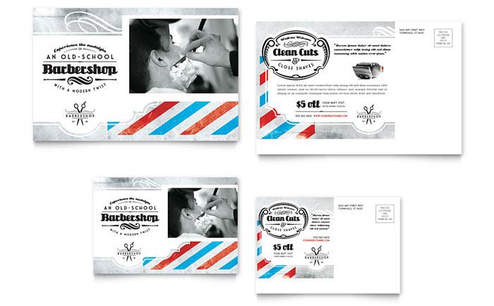Barbershop Postcard Template