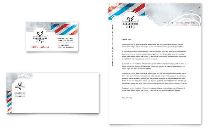 Barbershop business card letterhead template word publisher flashek Choice Image