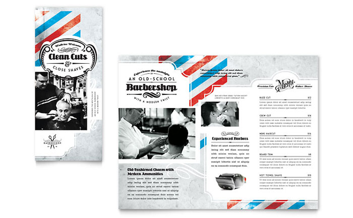 Barbershop Tri Fold Brochure Template Download - Word & Publisher - Microsoft Office