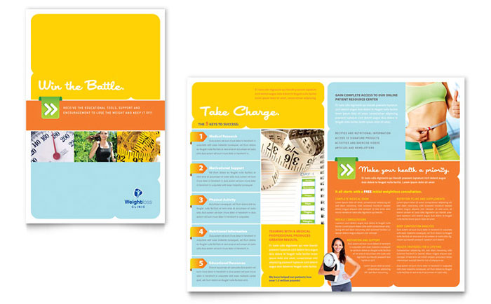 Weight loss clinic brochure template word publisher for Free travel brochure templates for microsoft word