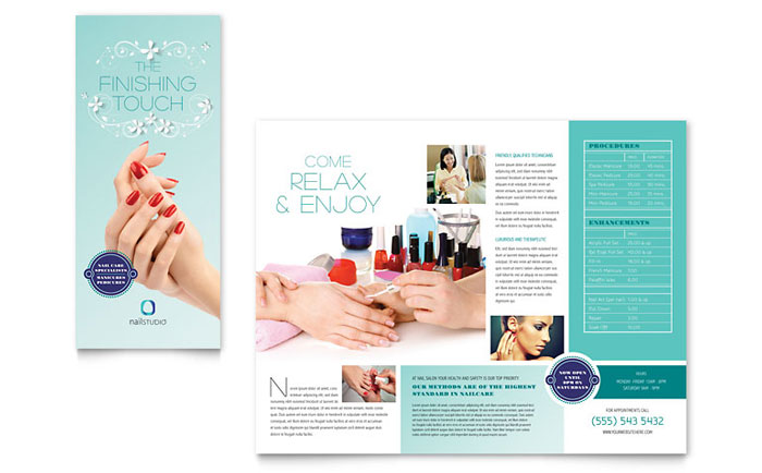 Nail Technician Brochure Template  Word  Publisher