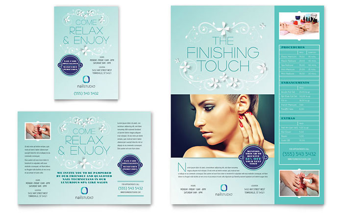Nail technician flyer ad template word publisher for Ad designs