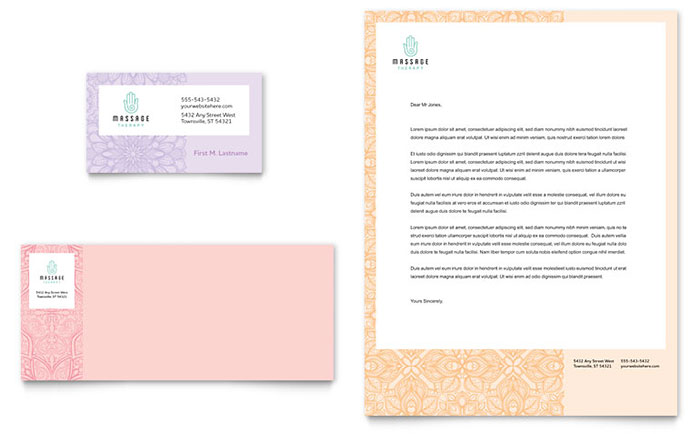 massage business card  u0026 letterhead template