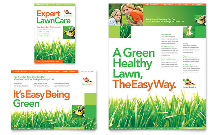 Lawn maintenance flyer ad template word publisher for Landscaping flyers templates