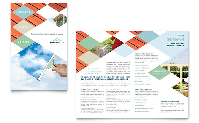 window cleaning pressure washing brochure template word publisher