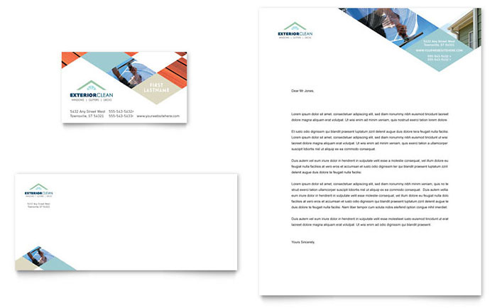 Window Cleaning & Pressure Washing Business Card & Letterhead Template Download - Word & Publisher - Microsoft Office