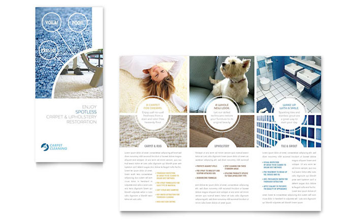 Carpet Cleaning Tri Fold Brochure Template Word Publisher - Word tri fold brochure template