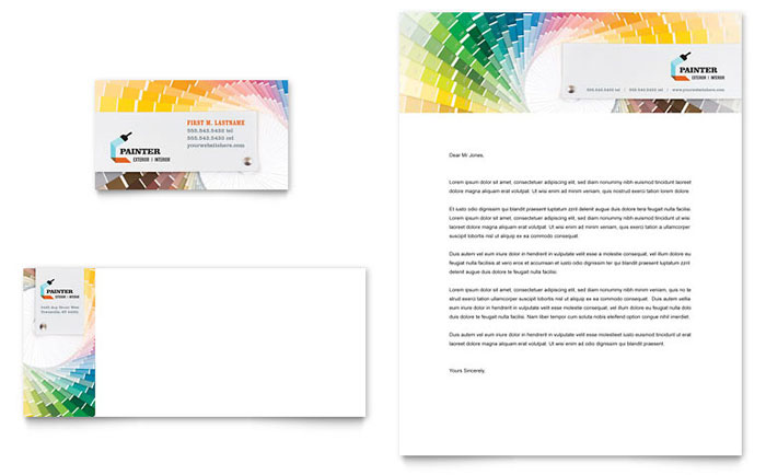 House Painting Contractor Business Card & Letterhead Template Download - Word & Publisher - Microsoft Office