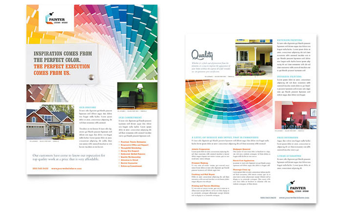 House Painting Contractor Datasheet Template - Word & Publisher