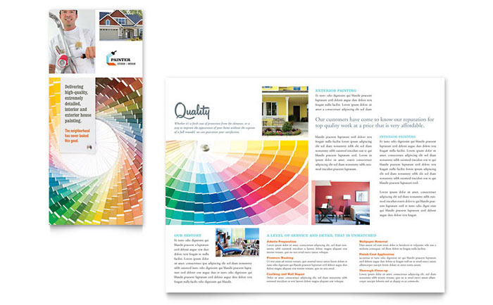 House Painting Contractor Tri Fold Brochure Template - Word