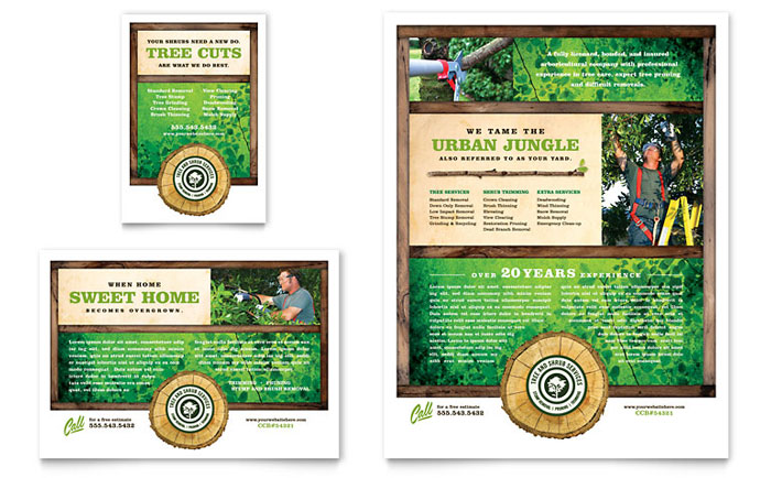 Tree service flyer ad template word publisher for Landscaping flyers templates