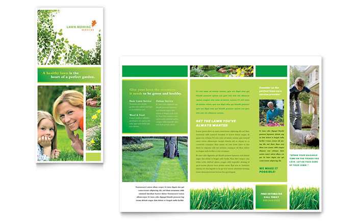 Lawn mowing service brochure template word publisher for Microsoft word catalog template