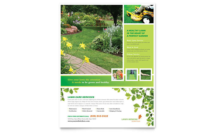 Lawn Mowing Service Flyer Template Word Publisher - Landscaping flyer templates