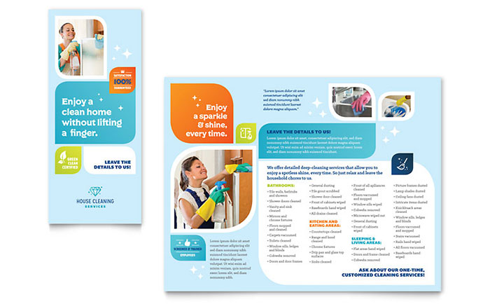 Cleaning services brochure template word publisher for Publisher brochure templates
