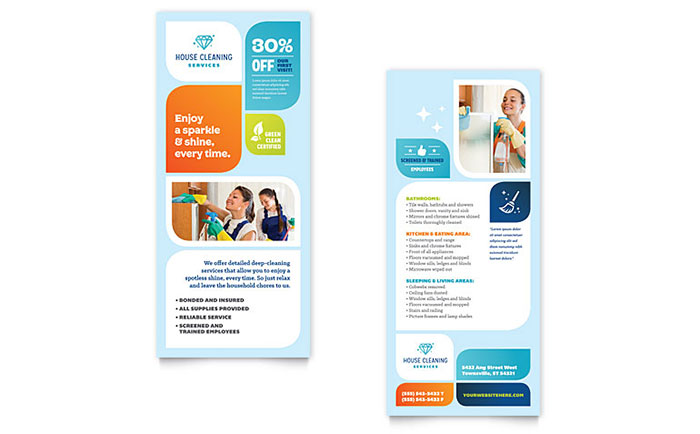 Cleaning Services Rack Card Template - Word & Publisher