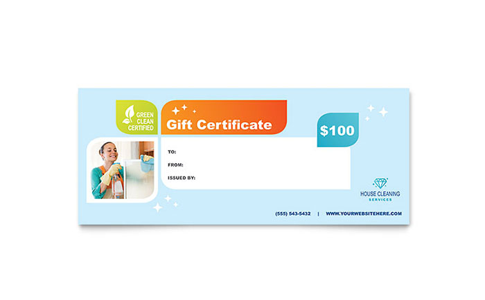 Cleaning Services Gift Certificate Template - Word & Publisher