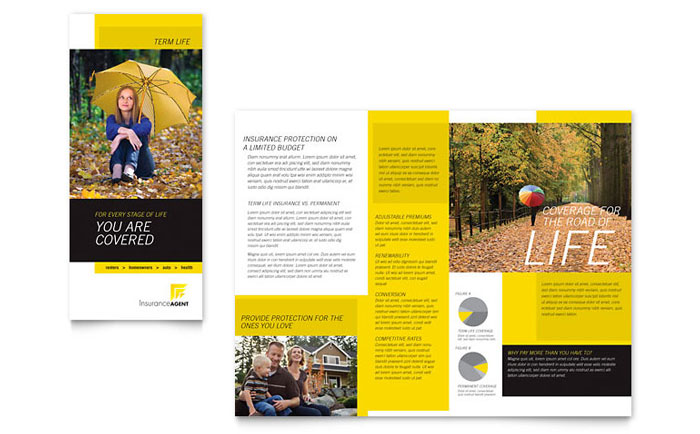 insurance agent tri fold brochure template word publisher