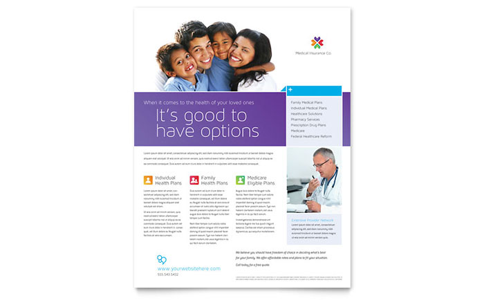 insurance brochure template  Medical Insurance Flyer Template - Word