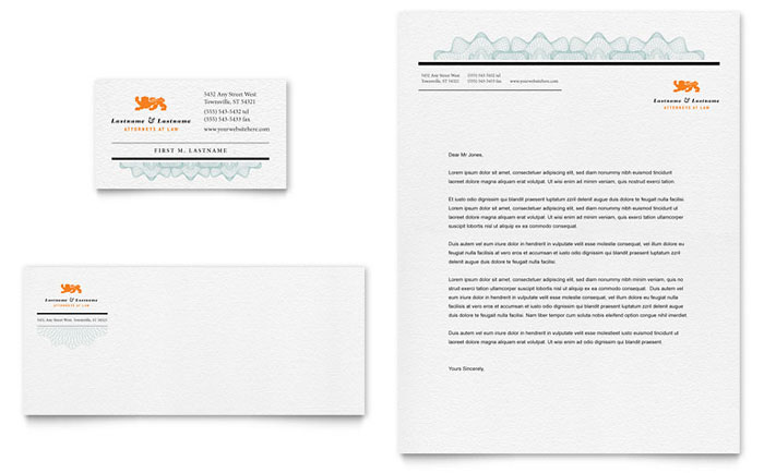 Attorney business card letterhead template word publisher wajeb