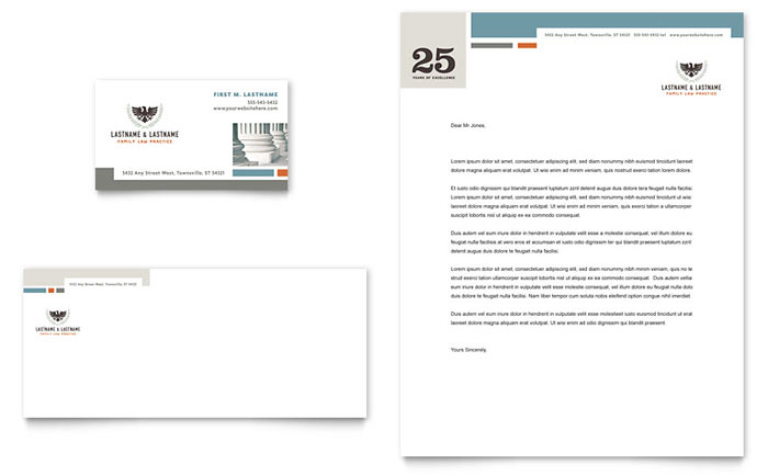 Family Law Attorneys Business Card & Letterhead Template - Word & Publisher