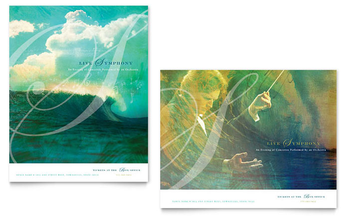 Symphony orchestra concert event poster template word for Event program template publisher