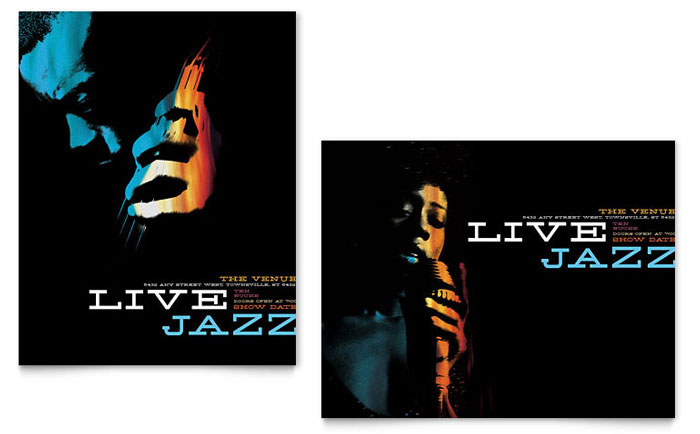 jazz music event poster template word publisher