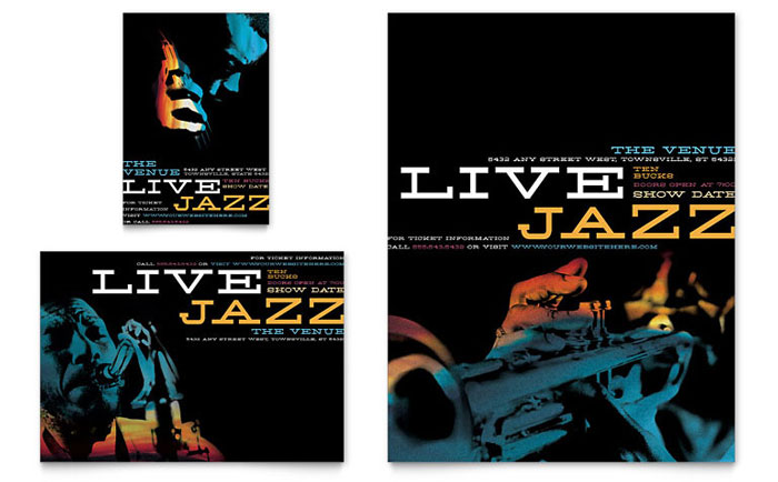 Jazz music event flyer ad template word publisher saigontimesfo